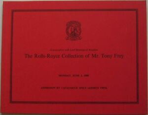 Christies Auction Catalogue 6/80 The Rolls Royce Collection of Mr Tony Frey