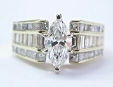 Marquise & Baguette Diamond Engagement Ring 18Kt Solid Yellow Gold 2.61CT E-SI1