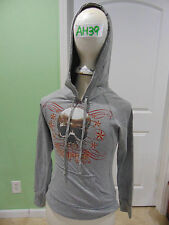 GRAY ROPER HOODIE MEDIUM WITH SKULL ON FRONT PULLOVER WORN SWEATSHIRT