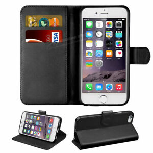 BLACK PU LEATHER WALLET CASE FOR iPHONE 8 PLUS WITH FREE SCREEN PROTECTOR!!