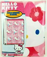Hello Kitty Girls Fabric Shower Curtain Pink Polka Dots Flowers 72x72 Sanrio