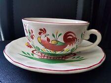 Vintage St Clement France Rooster Cups & Saucer