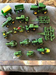16 Mixed VTG Lot John Deere ERTL Farm Toy Tractor Wagons Metal/Plastic