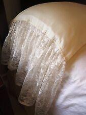 "KING RUFFLE LACE Pillowcases Shams (2) 13"" IVORY 100% Cotton Sateen 300TC NEW"