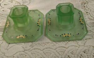 VINTAGE URANIUM GLASS CANDLESTICKS HANDPAINTED SATIN SQUARE MID CENTURY MODERN