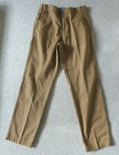 Men's M&S Smart Brown Tan Camel Flat Front Pure Cotton Chinos Trousers 30W x 32L