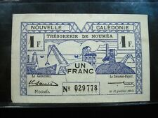 NEW CALEDONIA 1 FRANC 1942 FRENCH 78# Currency World Money Banknote