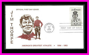 JIM THORPE: Ex-A-Cal cachet in brown and red/brown - First Day - Shawnee, OK