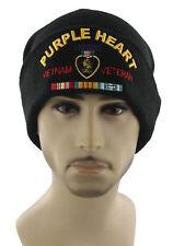 NEW! PURPLE HEART VIETNAM VETERAN BEANIE CAP HAT BLACK