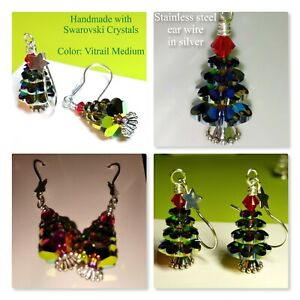 Christmas Tree Earrings MADE WITH Swarovski Crystals, Stainless Steel Ear Wire
