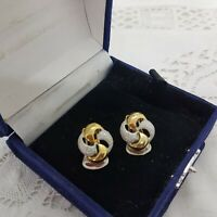 VINTAGE 80/90s Style Clip-On Earrings Gold & Silver Tone Knot Twist Cocktail