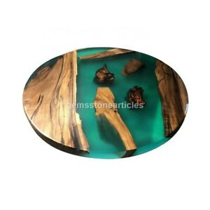 Epoxy Coffee Table with Green Resin Rivet, Walnut Epoxy Table, Center Table Deco