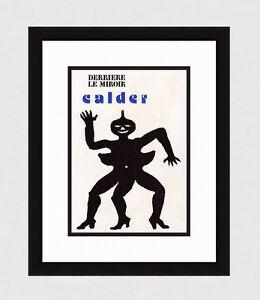 "Alexander CALDER 1975 Original Color Lithograph ""Three Legged Man"" Framed COA"