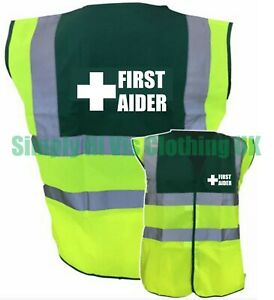 Hi Vis First Aider Printed Green Yellow Two / Tone Hi Viz Safety Vest Waistcoat