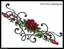 LOWER BACK SHOULDER TRAMP STAMP TEMPORARY TATTOO~SEXY LONG STEM RED ROSE 4 WOMEN