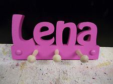 wooden coat pegs hooks/ hangers personalised childrens bedroom names painted