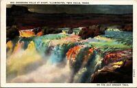 Vintage 1920's Shoshone Falls at Night, Twin Falls Idaho ID Postcard