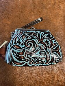 Patricia Nash Savena Turquoise Tooled Leather Wristlet New With Tag