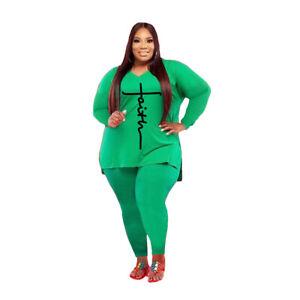 Plus Size Women Letter Printed V Neck Long Sleeve Slit Tops Pants 2 Pcs Sets
