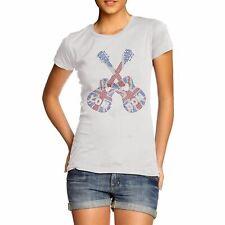 Women's Union Jack Guitars Rhinestone Diamante Crystal T-Shirt