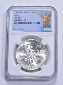 1985 MS66 Mexico Mexican Libertad Graded NGC 1 oz Silver .999 Fine *289