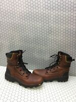 GEORGIA BOOT 'FLEX Point' Brown Leather Lace Up Waterproof Work Boots Mens 10.5W