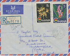 GHANA 1960 flowers/plants 11d + 1Sh rare mixed postage RCover LAST DAY OF COLONY