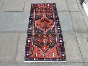 Vintage Traditional Hand Made Oriental Red Pink Blue Wool Short Runner 147x73cm