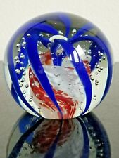 """Vintage Murano Style Paperweight With Blue Swirls, Red and White Center, 3.5"""" D"""
