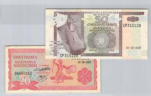Burundi 20 & 50 Francs 2001 n° DA480160 & CP315128 Pick 27c & 36c