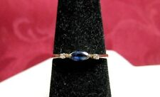 14K YELLOW GOLD MARQUISE CUT TOPAZ & DIAMONDS THIN RING SIZE 6