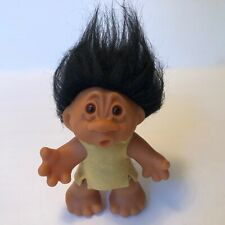 "5""T.H Dam Design Trolls Doll Playmate 1968 O Mouth~Denmark Black Hair~Felt Tunic"