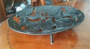 Antique Art Nouveau Solid Bronze Brass Pierced Center Bowl HEAVY