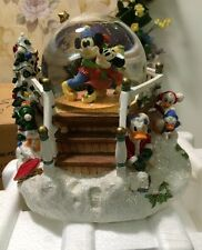 Rare Disney Mickey Minnie Christmas Snowglobe Gazebo Goofy Music Globe With Box!