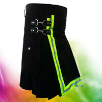 MEN'S BLACK HANDMADE FIREFIGHTER KILT WITH HIGHLY VISIBLE REFLECTOR 100% COTTON