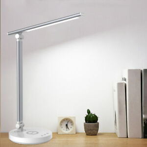 USB Dimmable LED Desk Table Lamp Reading Night Light Wireless Phone Charger Lamp
