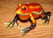 Orange Dart FROG (Wildlife, 3637) Baked Enamel, Bejeweled Trinket, Treasure Box