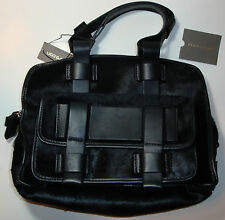 Ugg Collection Black Natural Leather Pony Hair Satchel Handbag Handmade in Italy