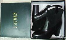 RALPH LAUREN Women's Western Ankle Boots Devyn Black Suede / Leather Pull Up New