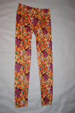 Jr Womens HALLOWEEN LEGGINGS Soft Knit TRICK OR TREAT Candy Corn Pumpkin S 3-5