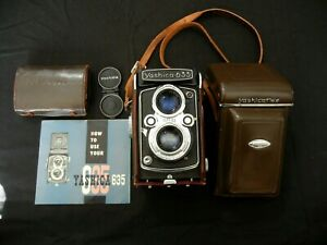 Vintage Yashica 635 Twin Lens 80mm Camera, Case, Instructions and accessories