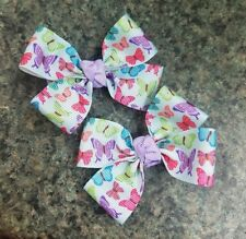 Set of 2 Butterfly hair bow toddler girl nonslip clip party favor spring
