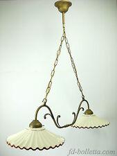 Lampadario ottone brunito liberty sospensione due luci,piatti ceramica l2r2010