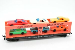 """Tyco HO Scale """"Trailer Train"""" Autoloader #349 With 6 Autos/Cars - No Box"""