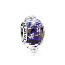 Authentic Pandora 925 #791609 Deep Ocean Sea glass Blue Bead Slide charm NWOT