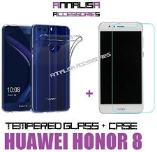 KIT COVER + PELLICOLA VETRO TEMPERATO PER HUAWEI HONOR 8 TEMPERED GLASS CASE TPU