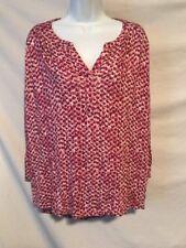 Liz Claiborne XL Pink Pattern Rayon Shirt 3/4 Length Sleeves