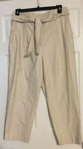 Ann Taylor Beige High Rise Pants w/self tie fabric belt Size 12 NWT