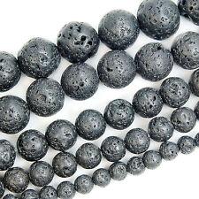 "Metallic Titanium Coated Rock Lava Gemstone Round Beads 15"" 6mm 8mm 10mm 12mm"