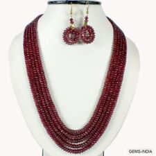 430 Cts Ruby Bead Necklace w// Loose Moissanite Diamond Alternative Silver Clasp